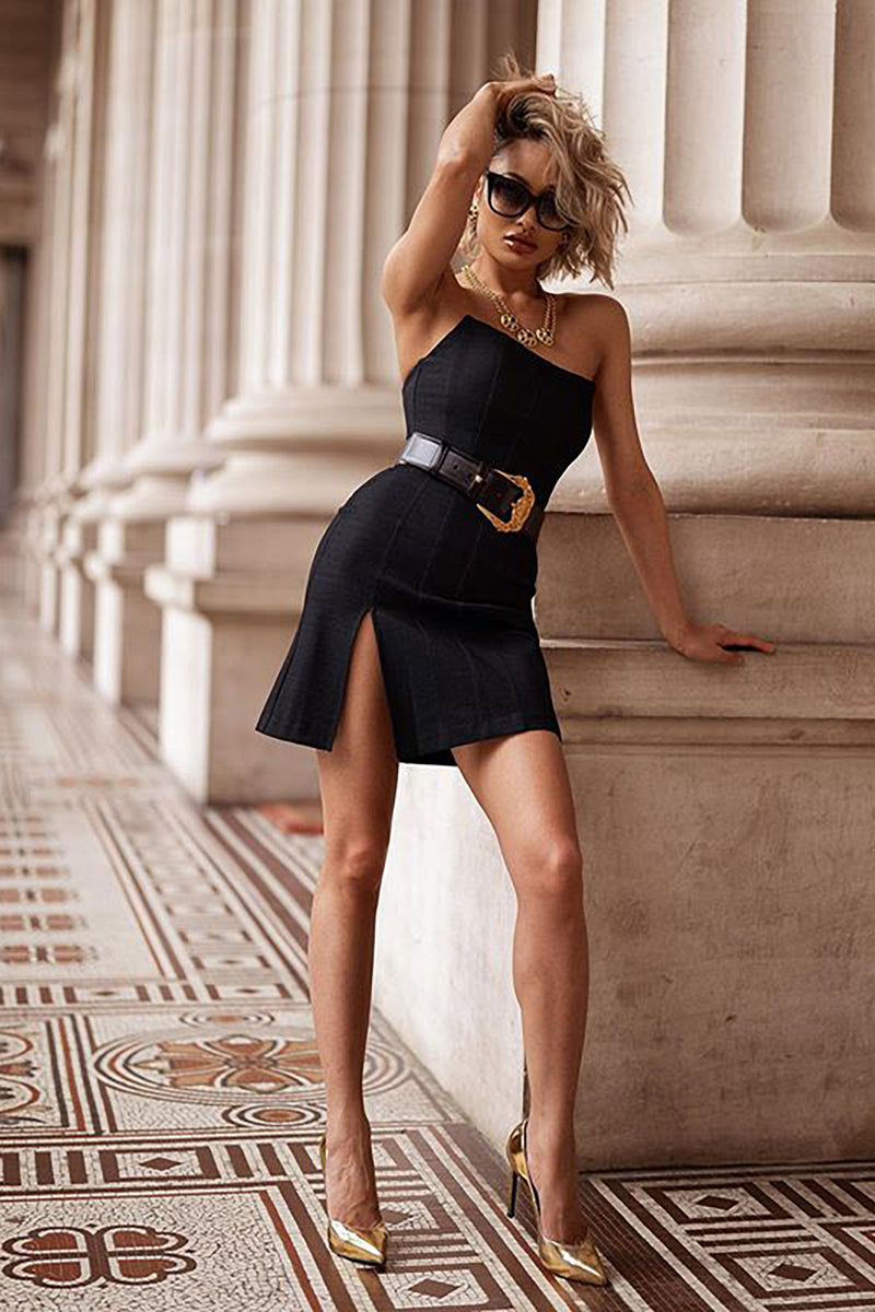 Contrast Trim Black Short Sleeve Mini Bandage Dress