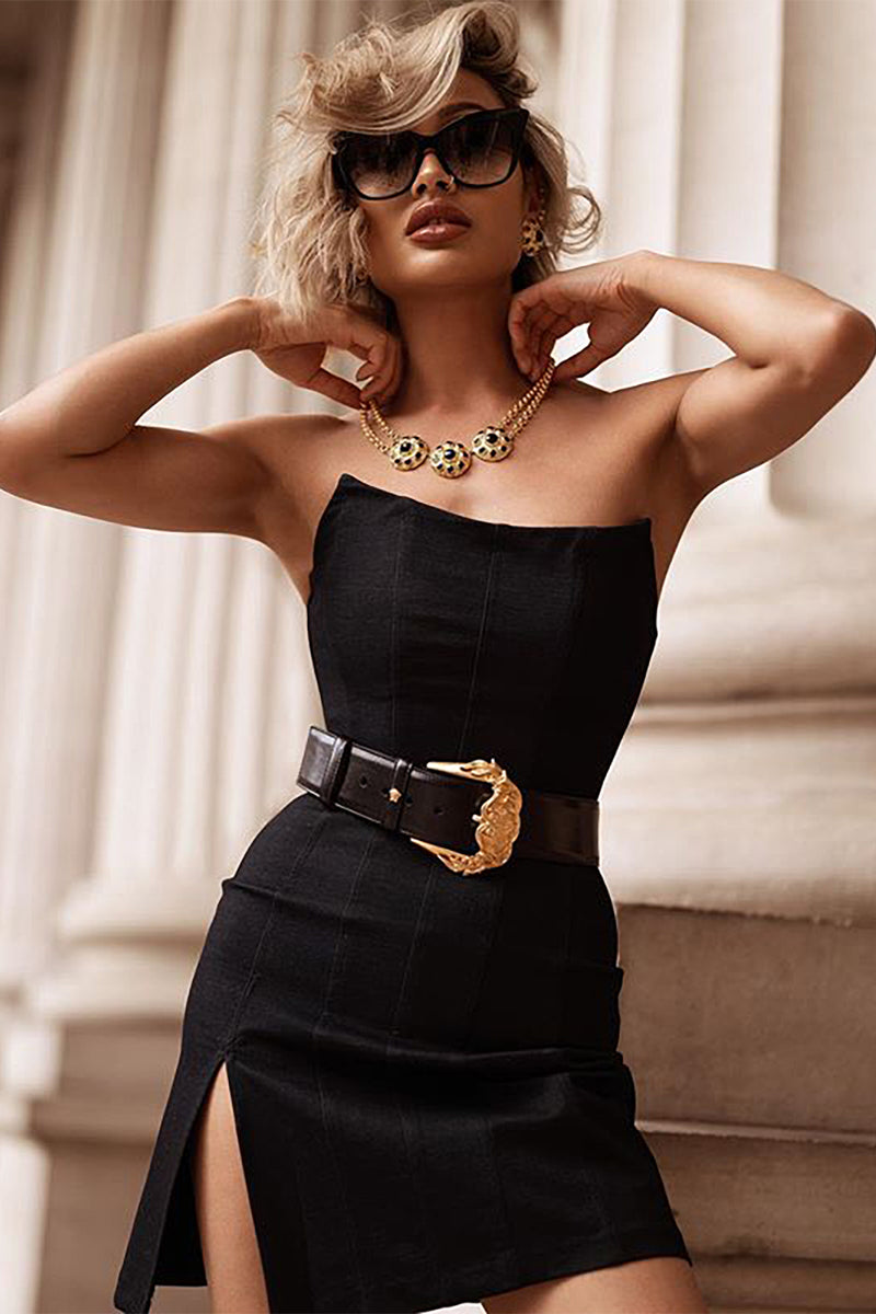 Black Split Strapless Bandage Dress - CHICIDA