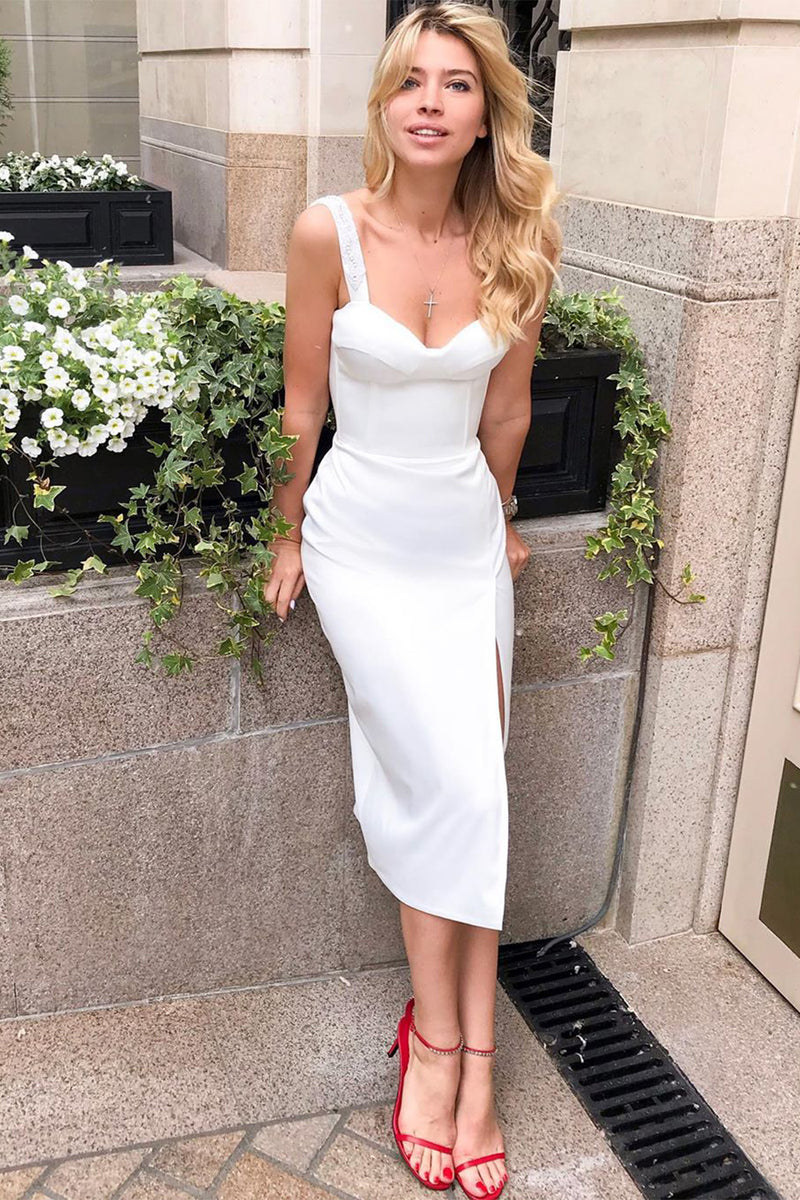 White Spaghetti Strap V-Neck Split Bandage Dress - CHICIDA