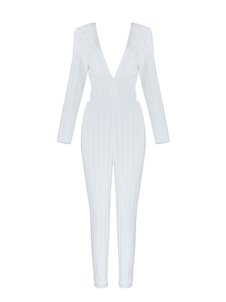 White Deep V Backless Long Sleeve Bandage Jumpsuits - CHICIDA