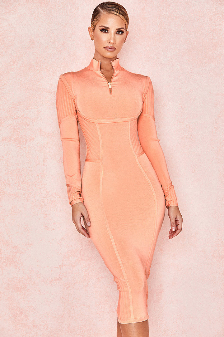 Sorbet Long Sleeves Orange Bandage Midi Dress