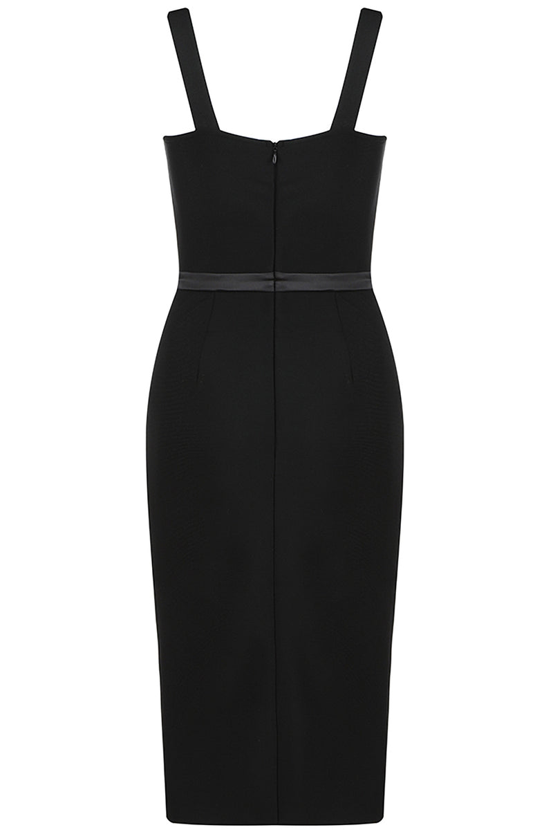 Black Sleeveless Spaghetti Bodycon Bandage Dress