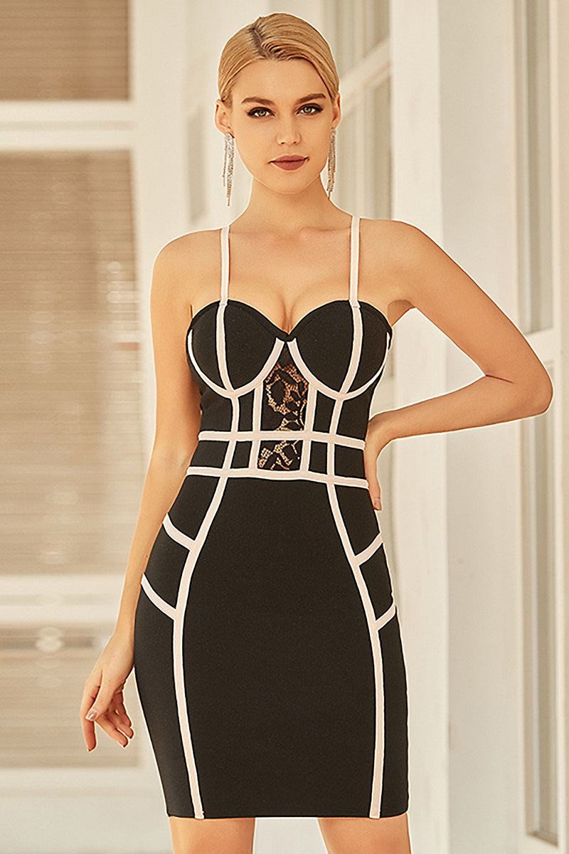 Spaghetti Strap Lace Sleeveless Striped Mini Bandage Dress