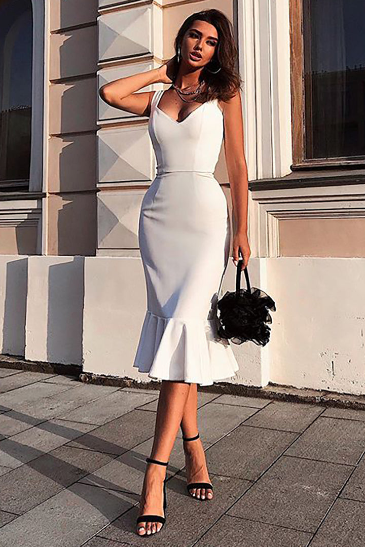 White Slim Mermaid Party Dress - CHICIDA