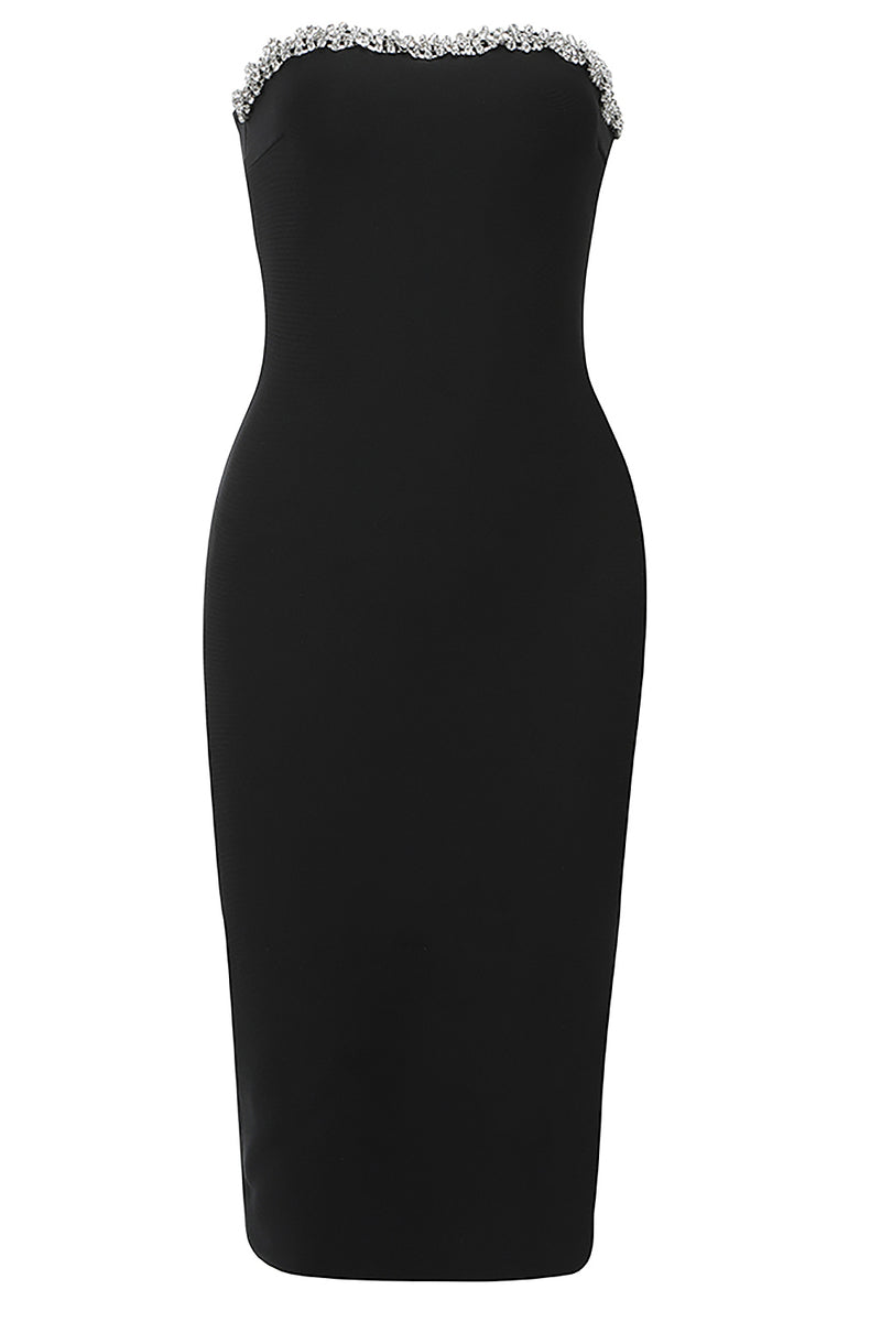 Strapless Crystal Black Bodycon Bandage Dress