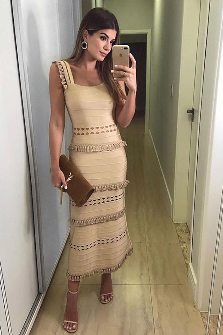 Strappy Nude Maxi Bandage Dress