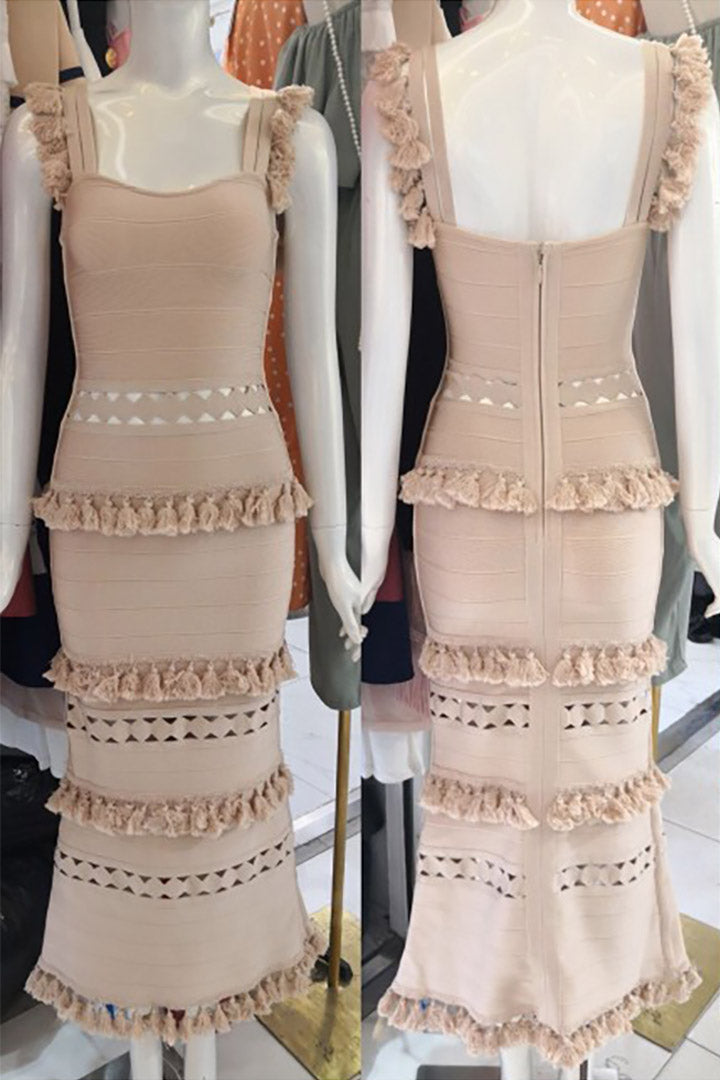 Strappy Nude Maxi Bandage Dress - CHICIDA