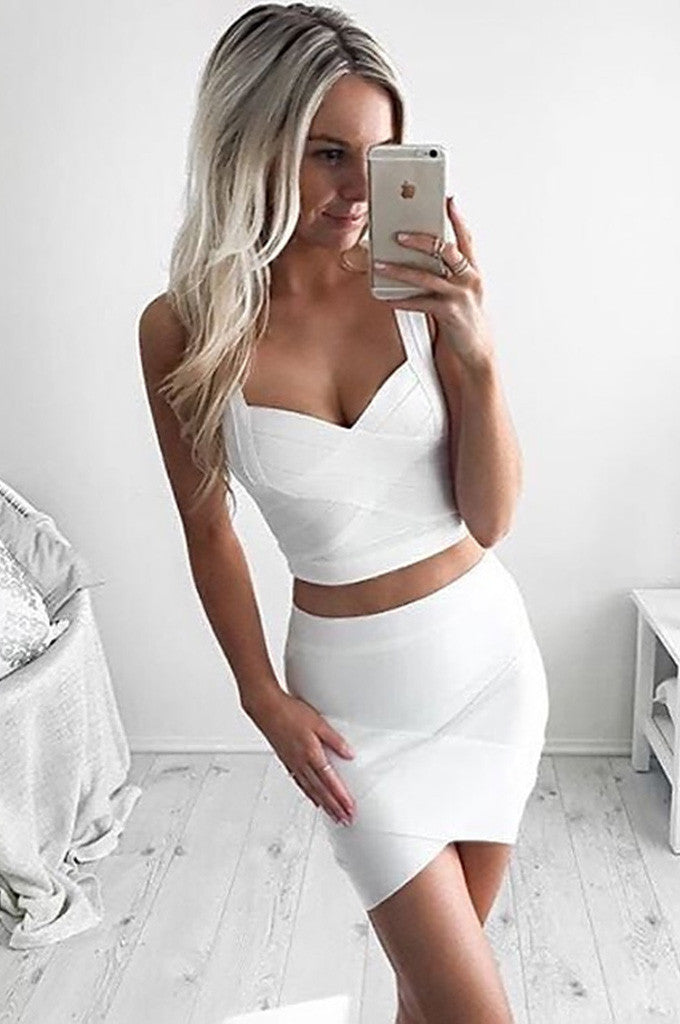 Cut Out Deep V Sexy White Bandage Dress