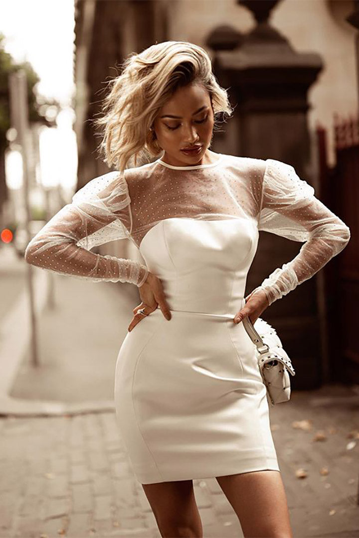 White Mesh Long Sleeve O-Neck Bandage Mini Dress - CHICIDA