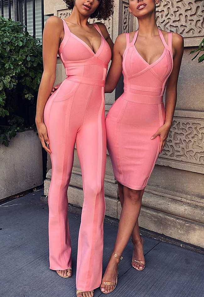 Elegant Pink V-Neck Hollow Out Knitting Jumpsuit - CHICIDA