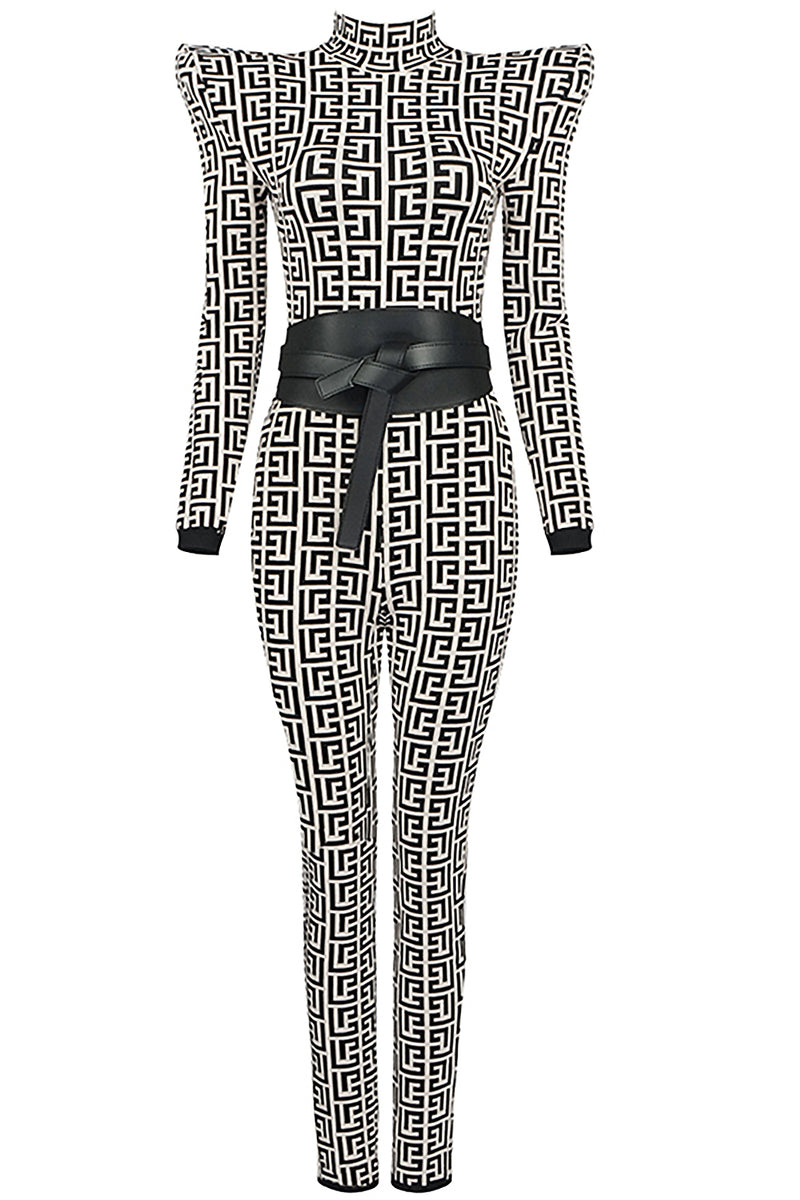 Timeless Lines And Jacquard Bandage Jumpsuit