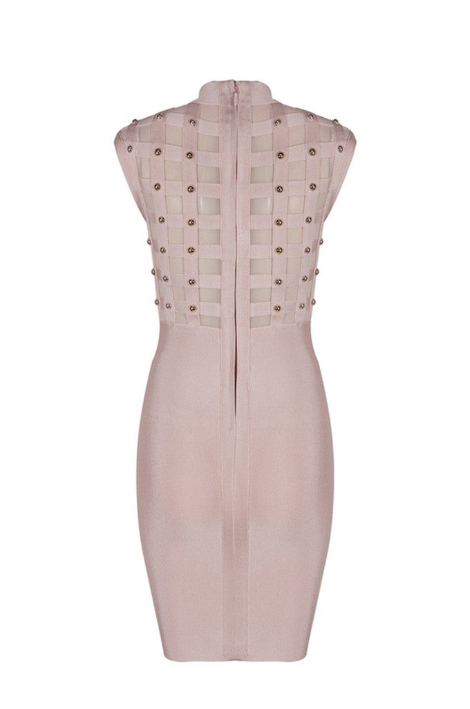 Hollow Out Rivet Studded Mesh Bodycon Bandage Dress - CHICIDA