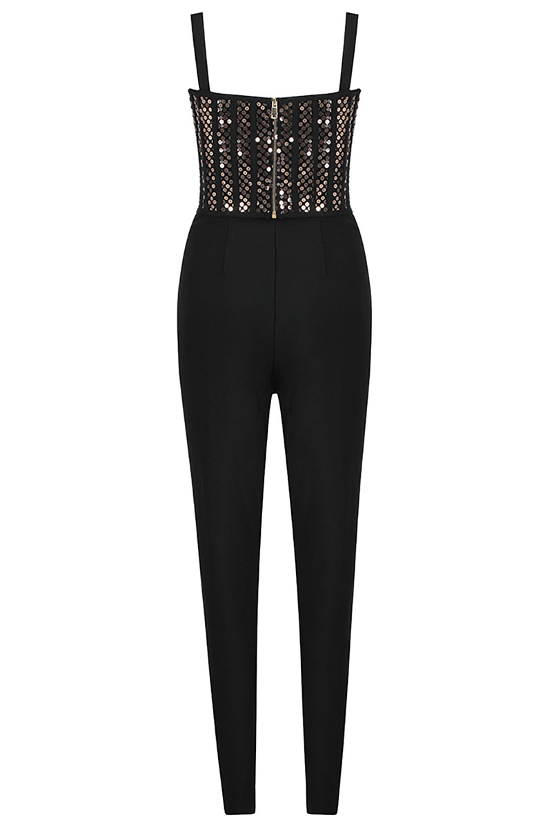 Two-piece Black Sleeveless Sequin Vest Top & Pencil Pants
