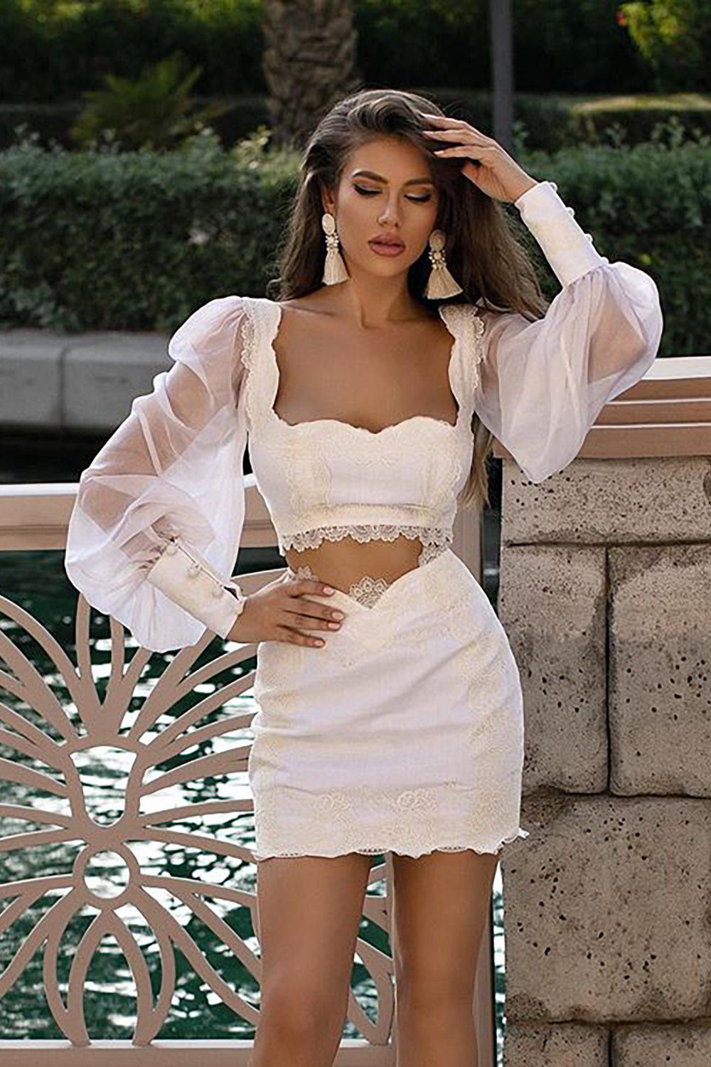 Lace Bandage Two-piece Set Long-Sleeved Patchwork Top & Mini Pencil Skirt - CHICIDA