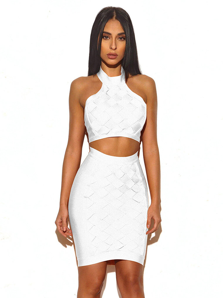 Two Pieces Set Grid Cross Bandage Dress - CHICIDA