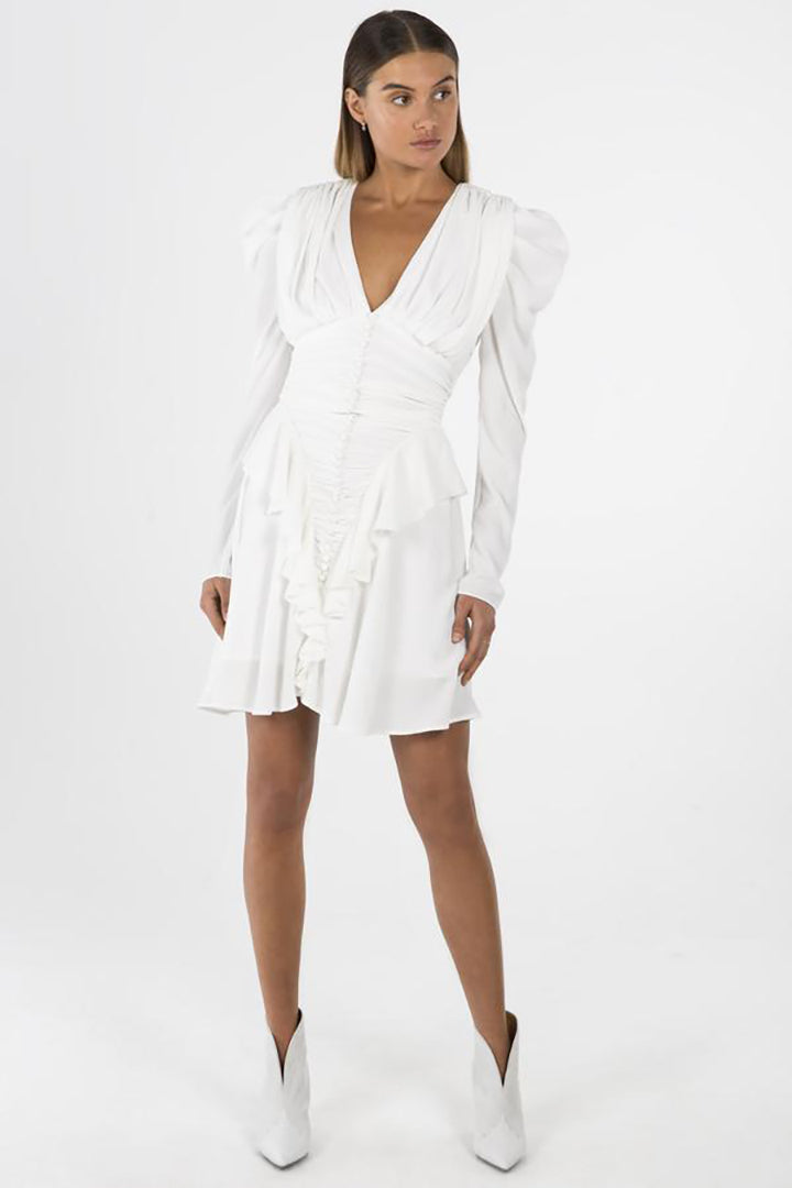 White V-neck Ruffled Dress - CHICIDA