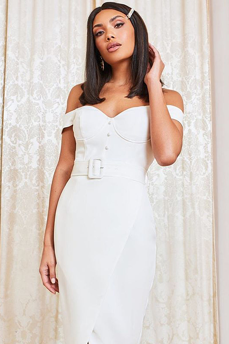 White Sexy Off Shoulder Belt Button Bandage Dress - CHICIDA