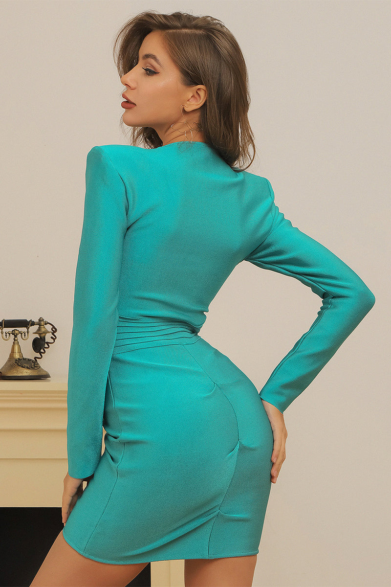 V Neck Zippers Lake Blue Bandage Dress