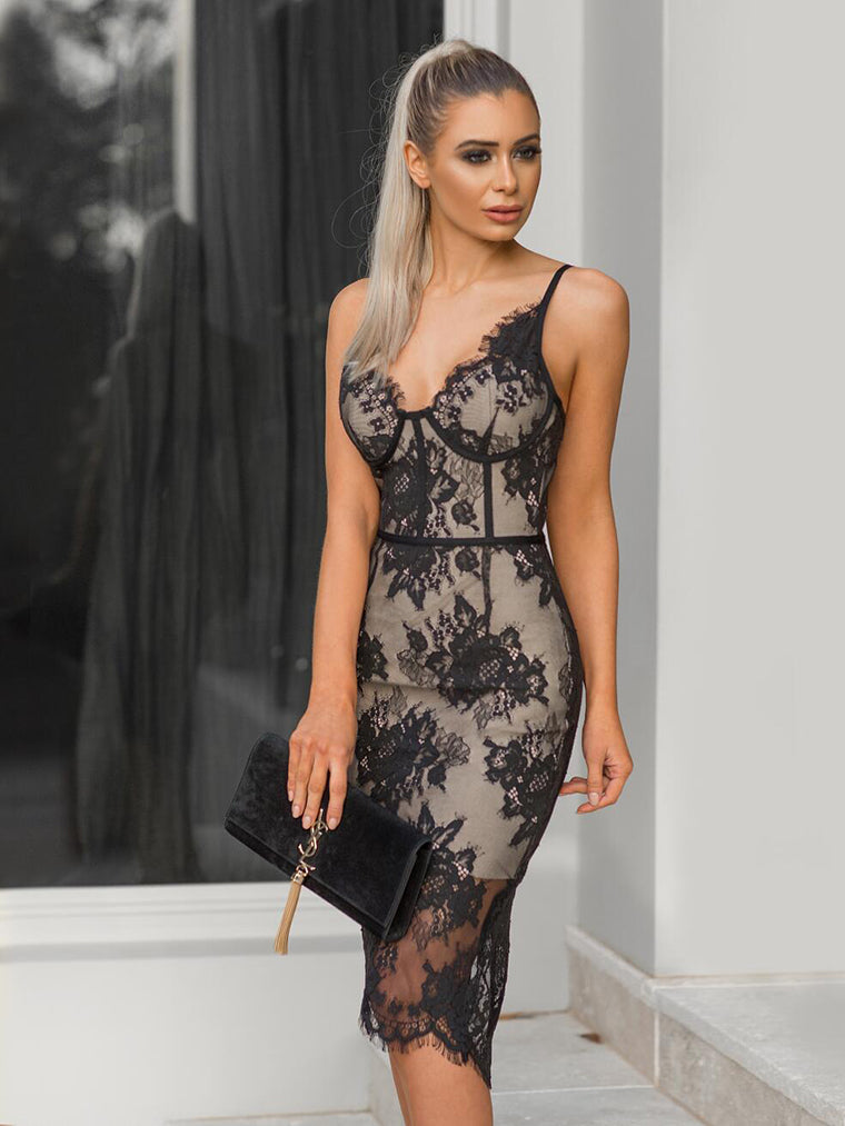 Deep V Neck Elegant Lace Midi Dress - CHICIDA
