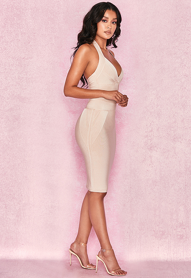 Sexy Halter Backless Nude Bandage Dress - CHICIDA