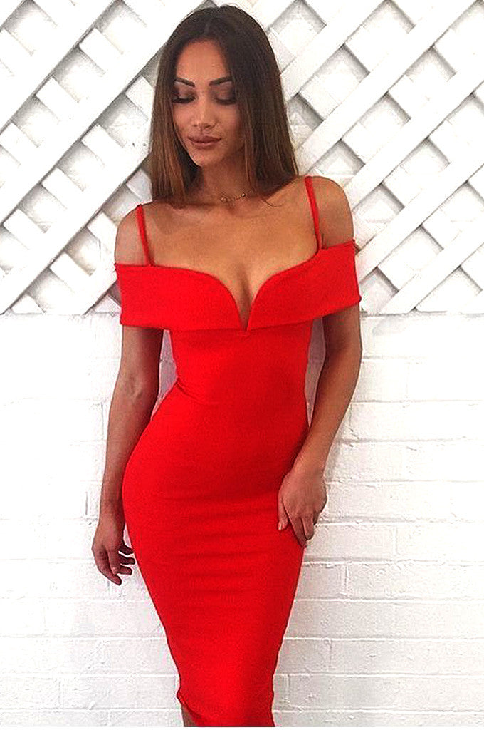 V Slash Neck Off Shoulder Knee Length Bandage Dress - CHICIDA