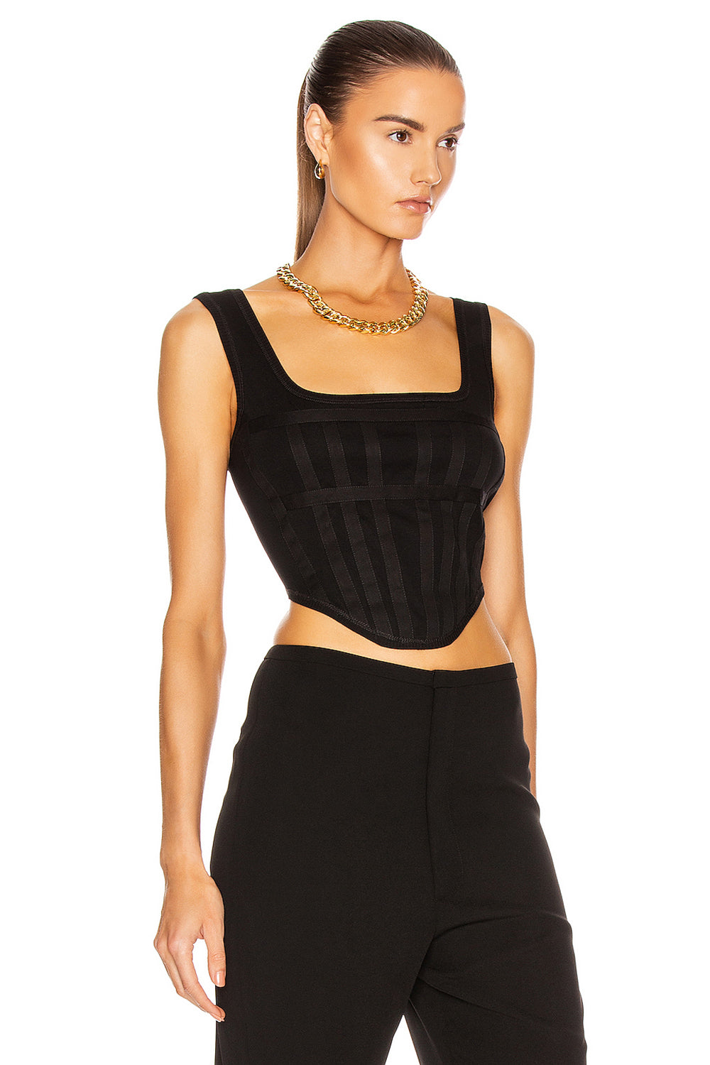 Black Slim Irregular Hem Bandage Short Top - CHICIDA