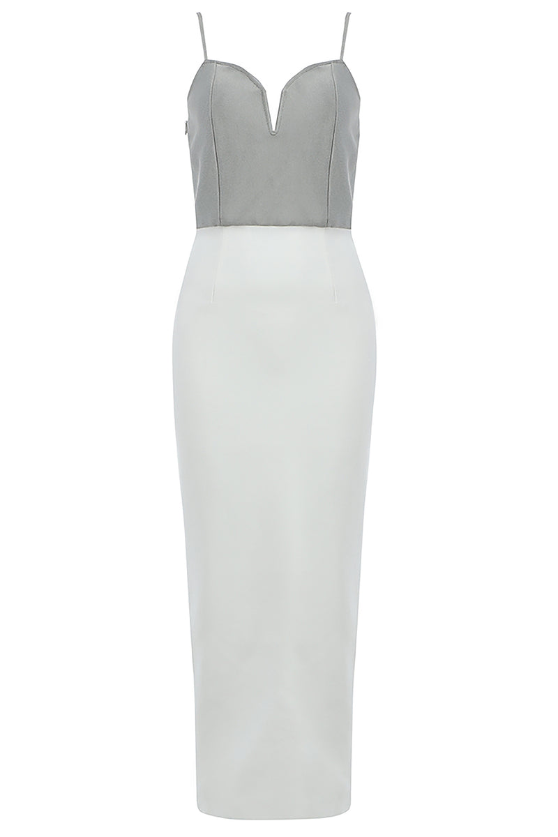 White Gray Strappy Patchwork Midi Bandage Dress