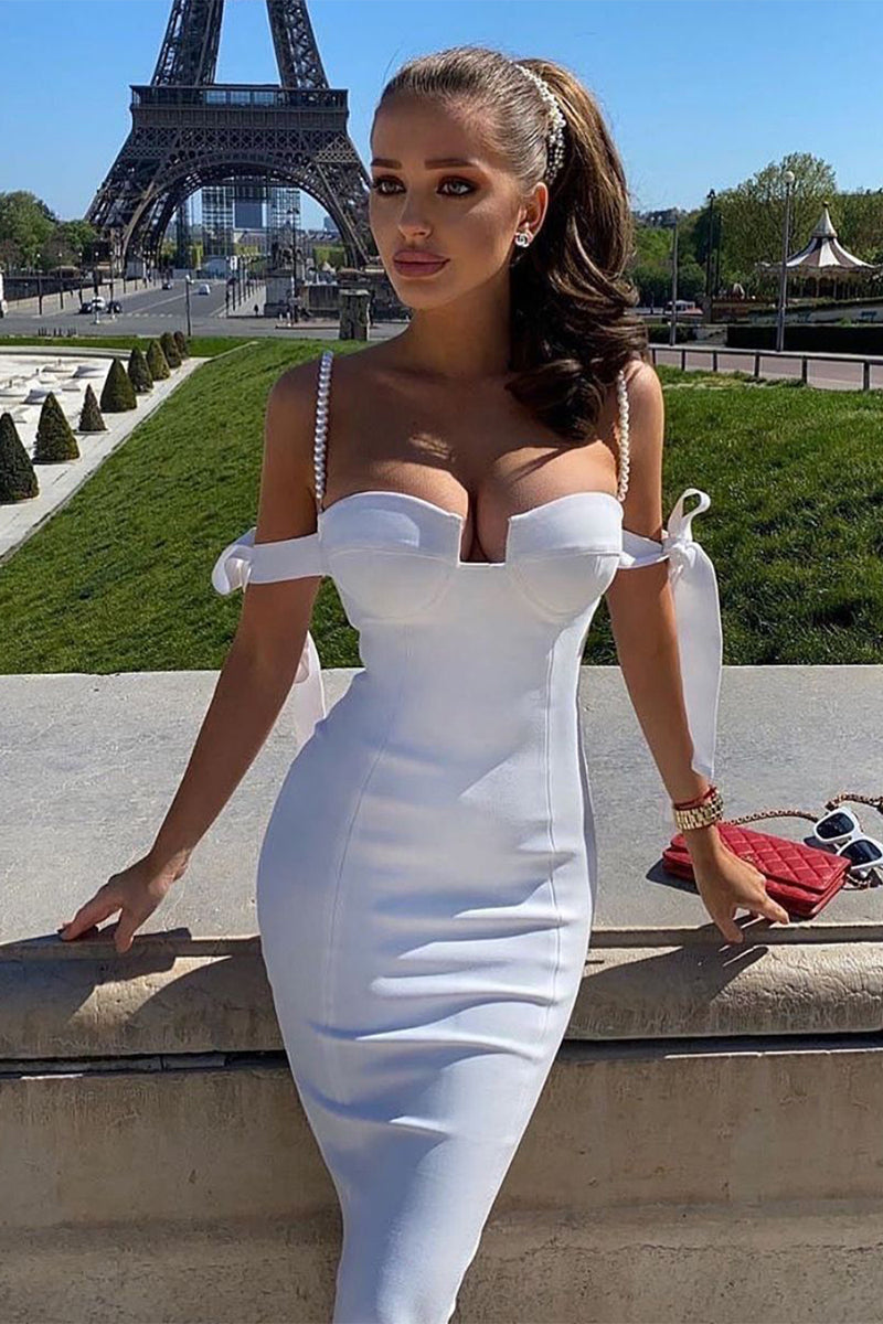 Off The Shoulder Slash Neckline Asymmetry Ruffles Hem Bandage Midi Dress