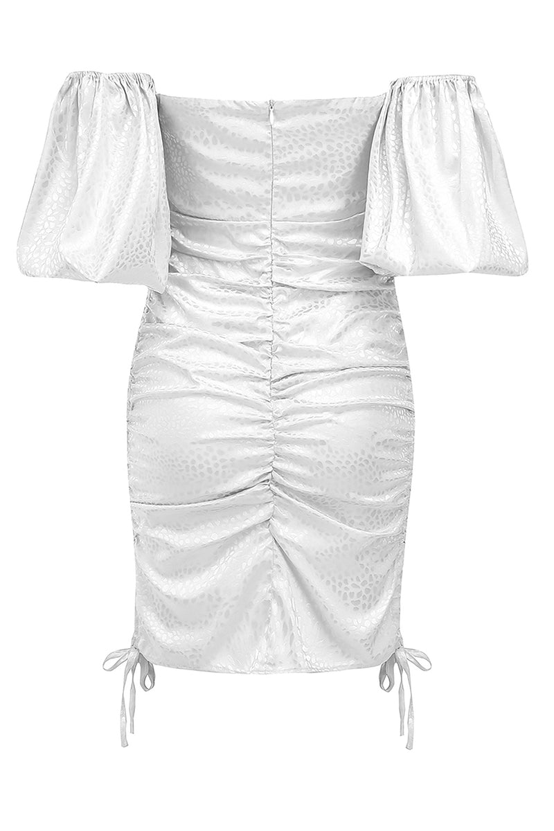 White Off-Shoulder Key Hole Dress