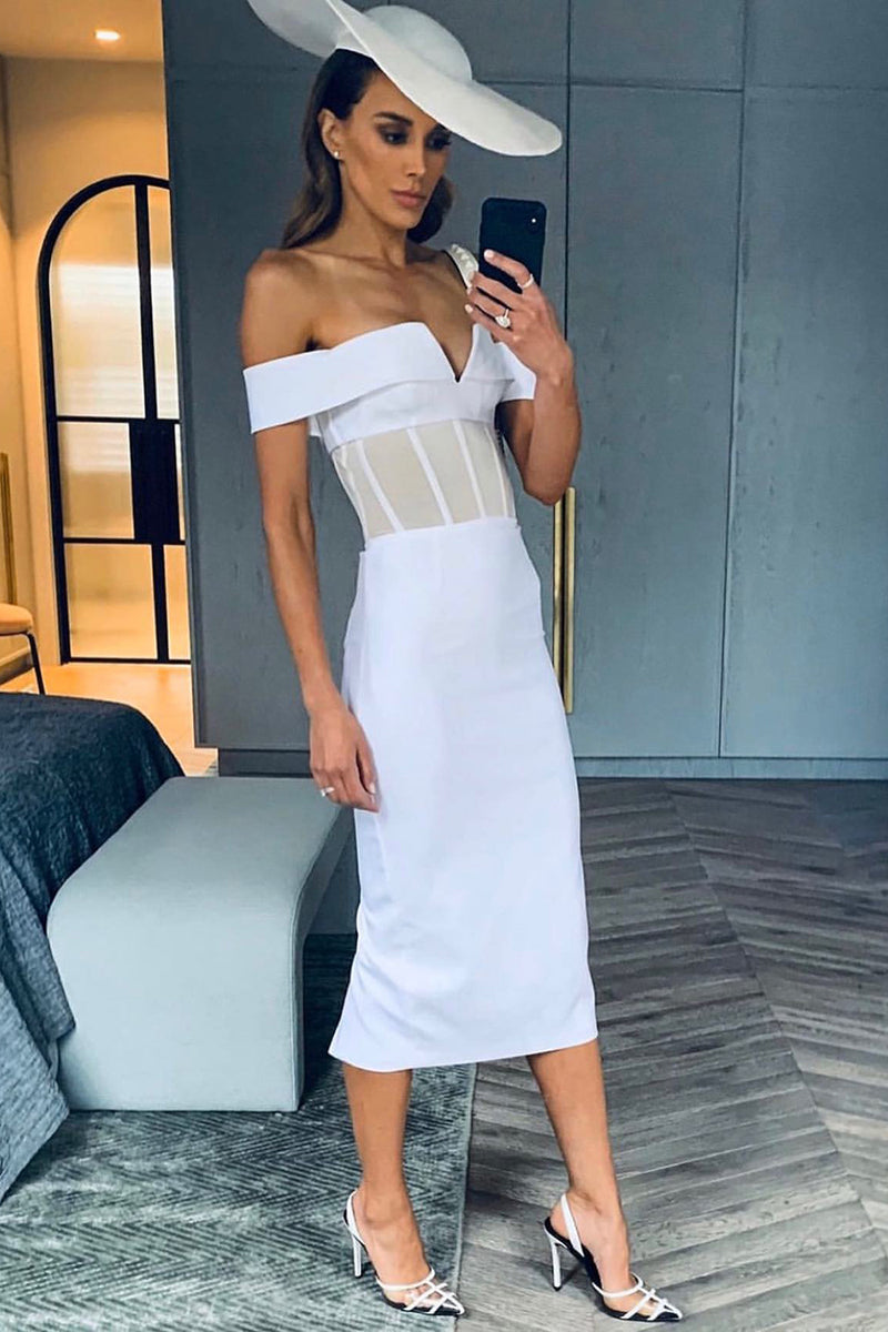 White Patchwork Mesh Off Shoulder Slash Neck Bandage Dress - CHICIDA