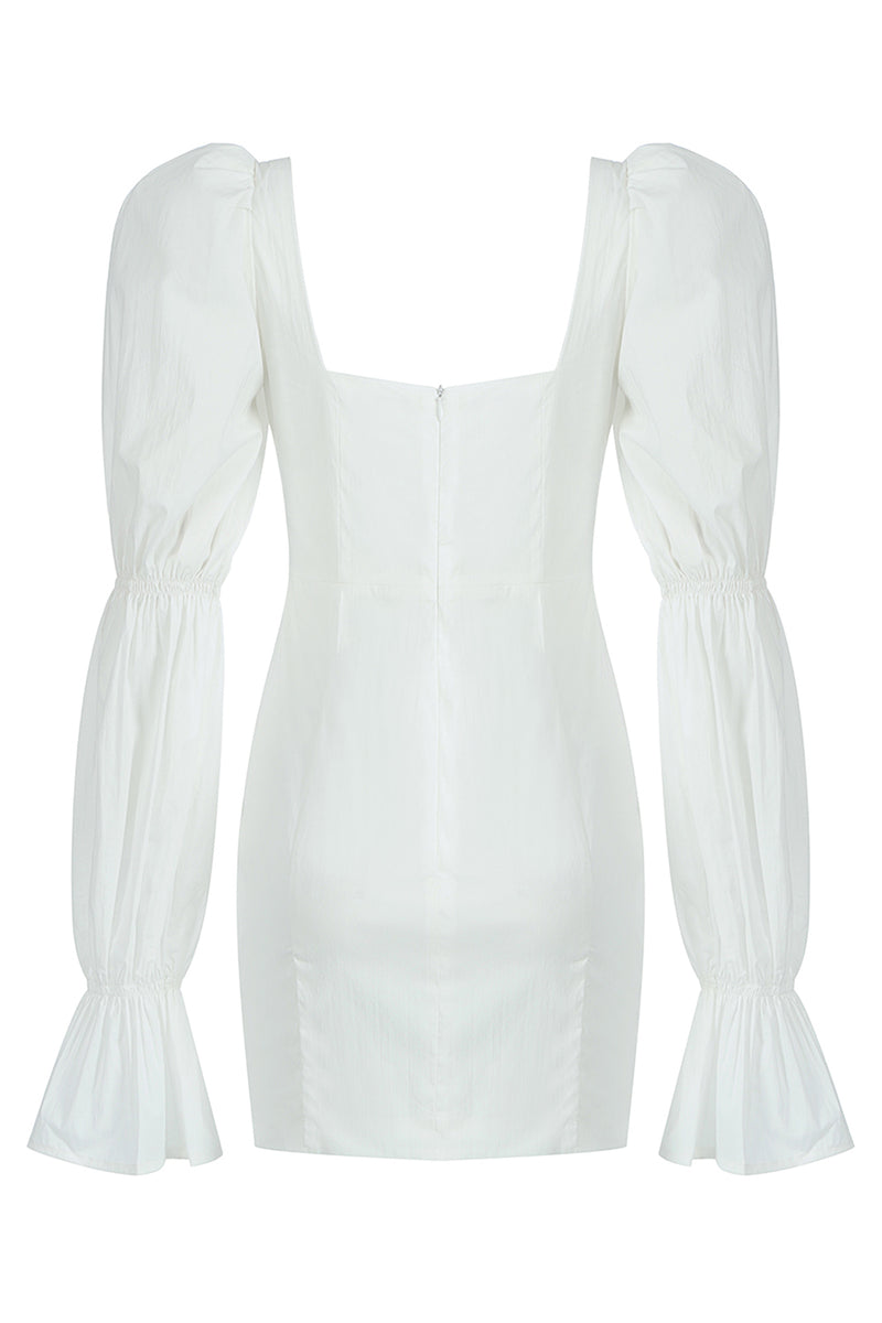 White Puff Long Sleeves Corset Dress