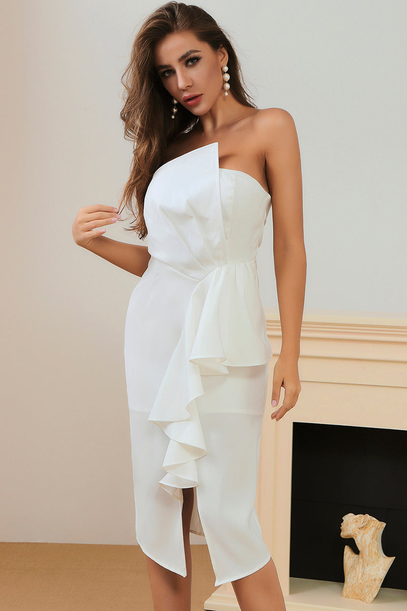 White Off Shoulder Strapless Ruffled Midi Dress Dress - CHICIDA