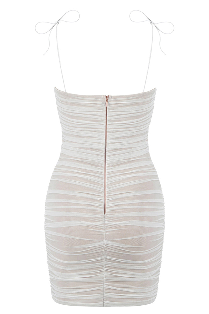 Mesh Ruched Strappy White Bandage Dress