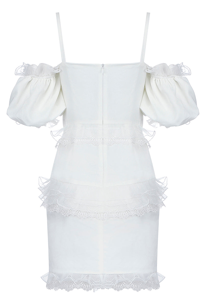 White Lantern Sleeve Off Shoulder Club Dress - CHICIDA