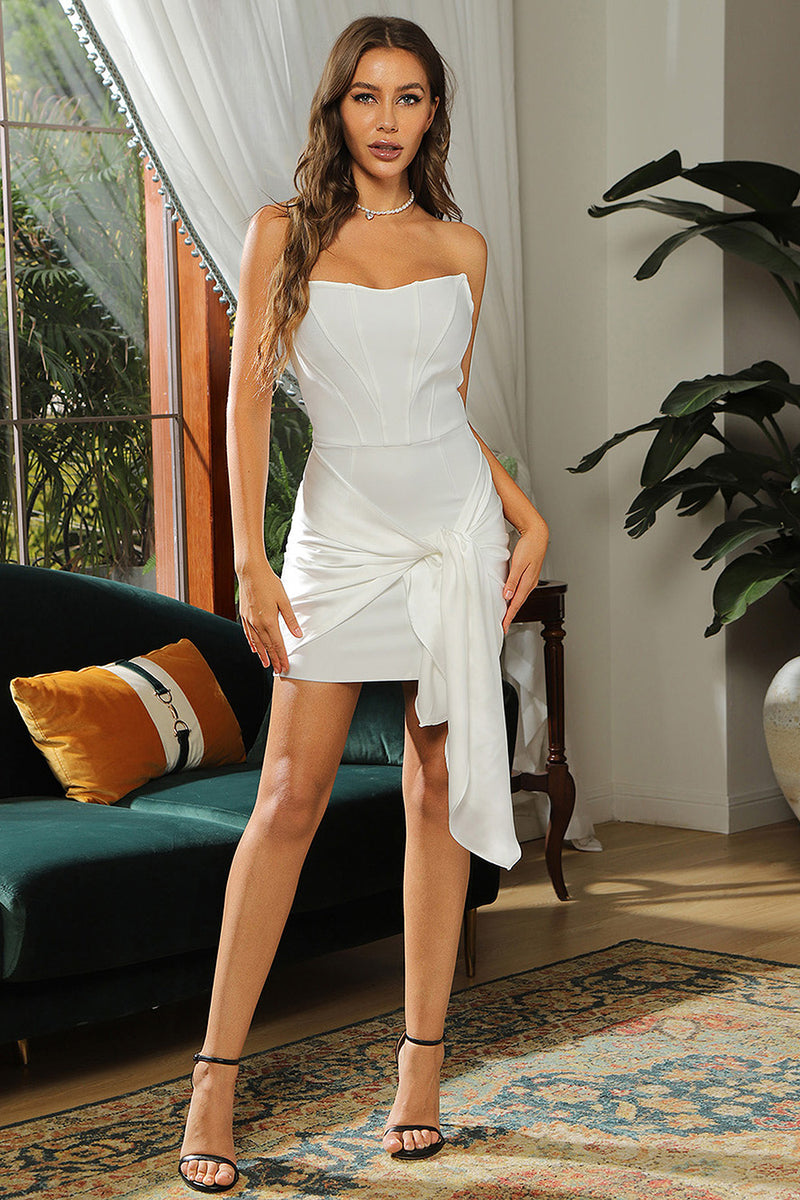 White Strapless Belt Mini Bandage Dress