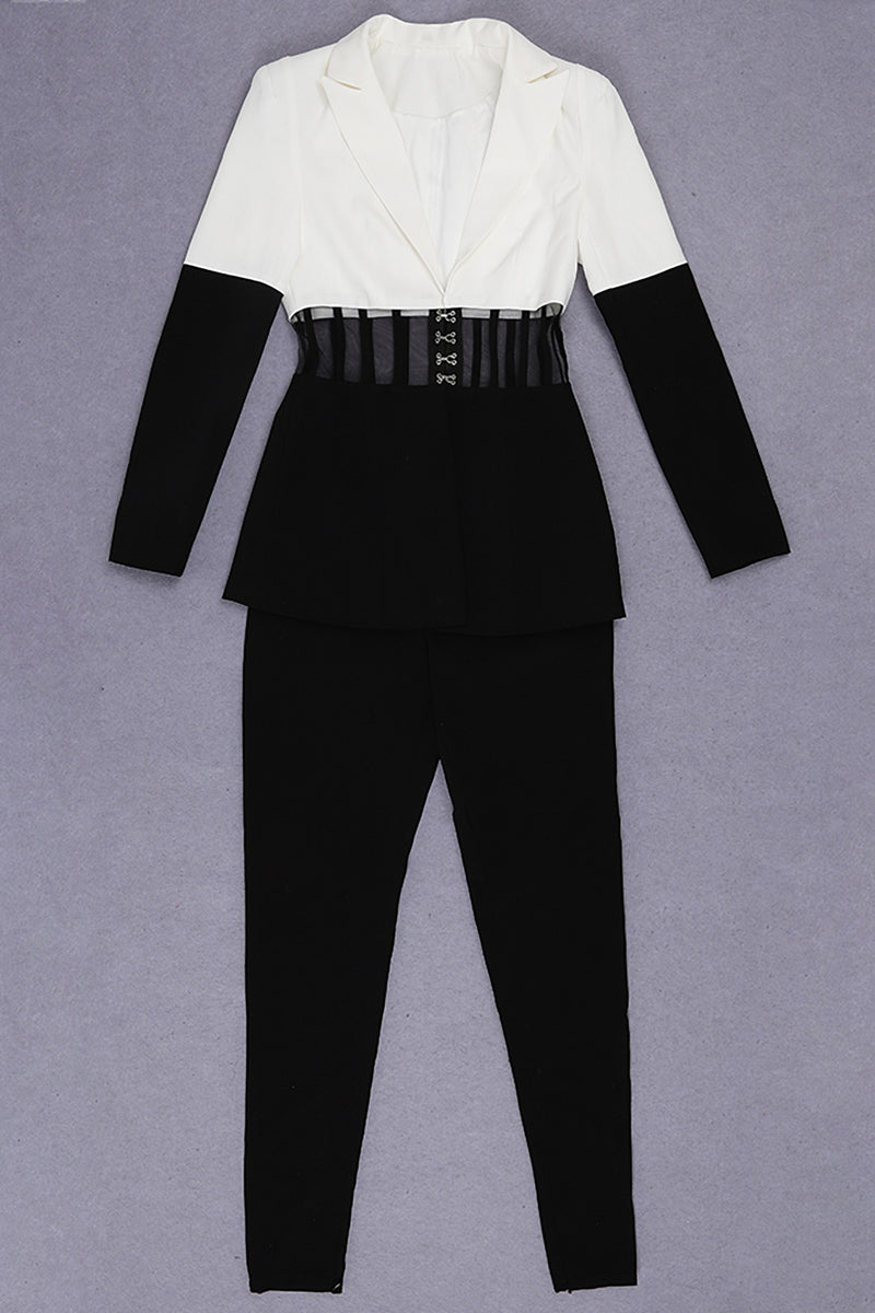 White Suits Black Hollow Out Long Pants