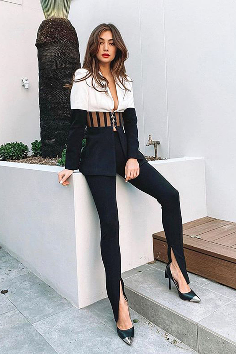 Black V-Neck Long Sleeved A-Line High Split Dress
