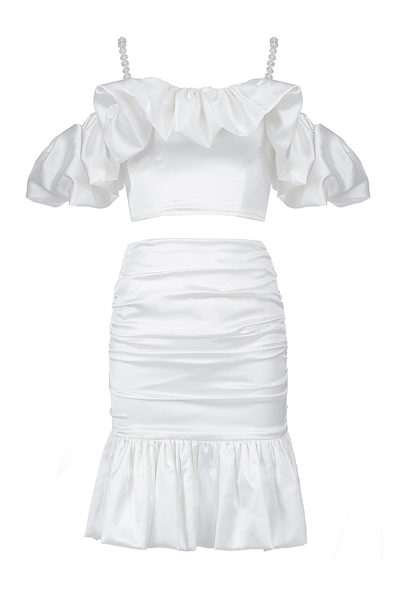 White Two Pieces Beading Dress