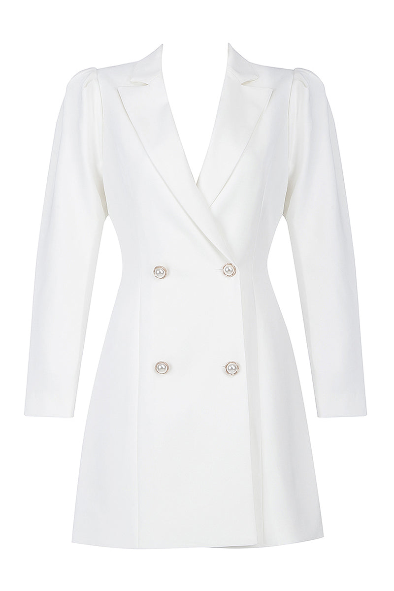 White V Neck Full Sleeves Button Suit