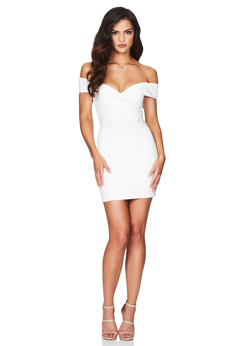 V Neck Off Shoulder Short Sleeve Button Bodycon Bandage Dress - CHICIDA