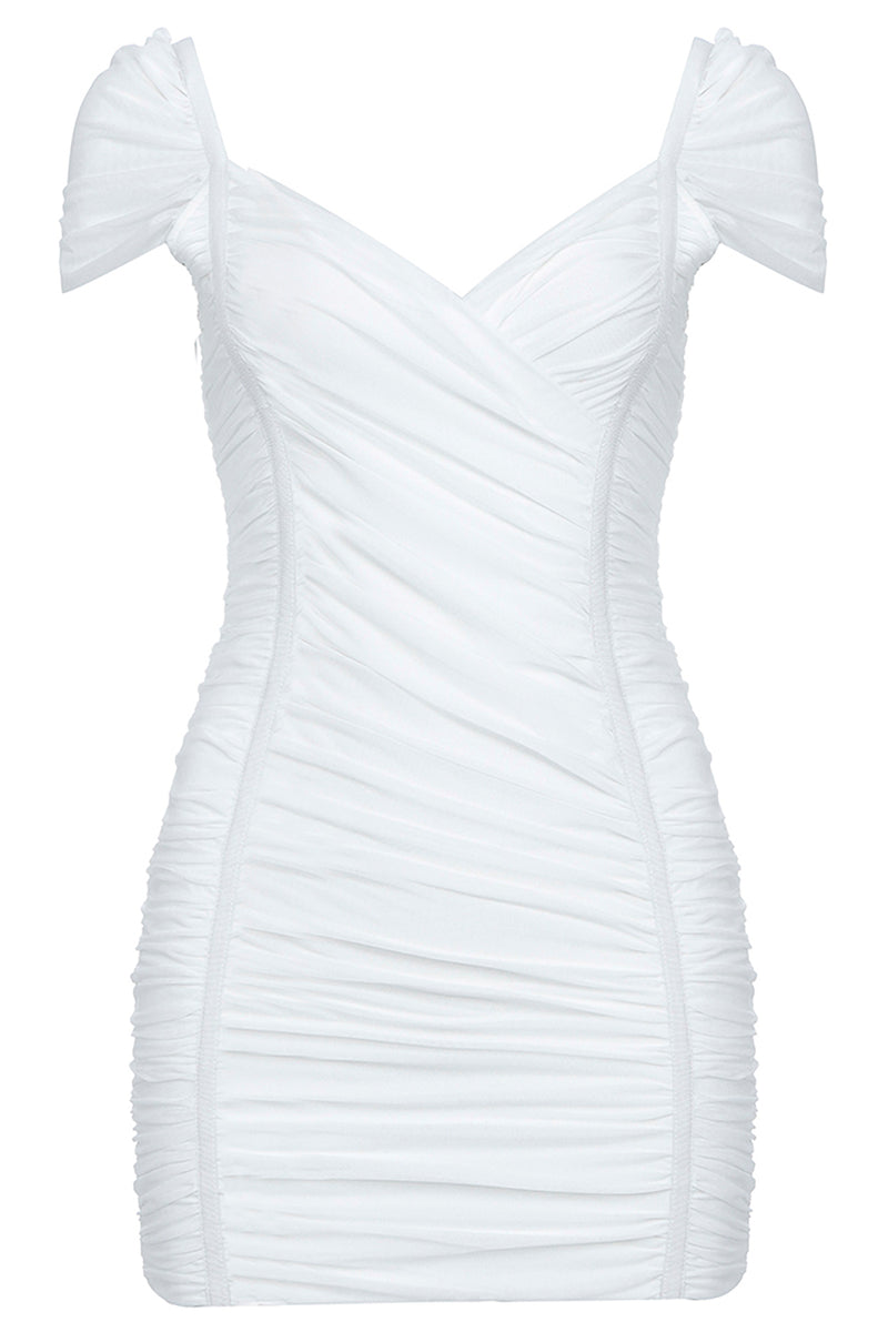 V Neck Short Sleeves Mini Bandage Dress - CHICIDA