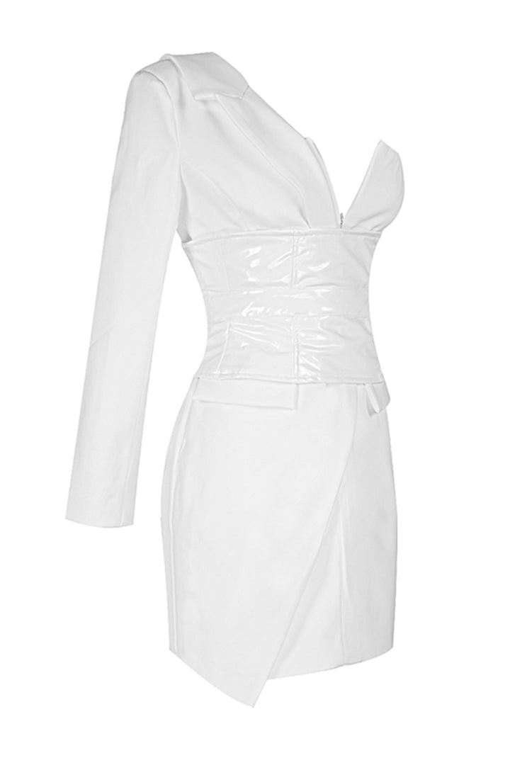 White Asymmetric One Sleeved V Neck Tuxedo Dress - CHICIDA