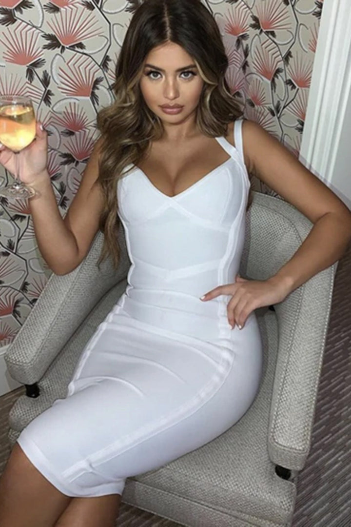 White Strappy Sleeveless Mini Evening Bandage Dress
