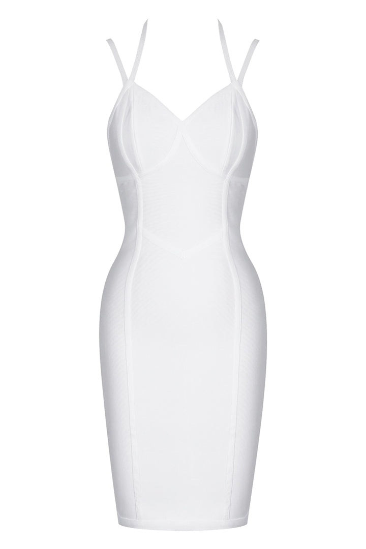 White Strappy Sleeveless Mini Evening Bandage Dress - CHICIDA