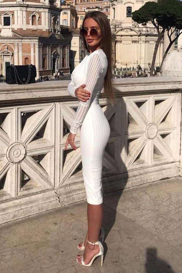 White Deep V Long Sleeve Bandage Dress - CHICIDA