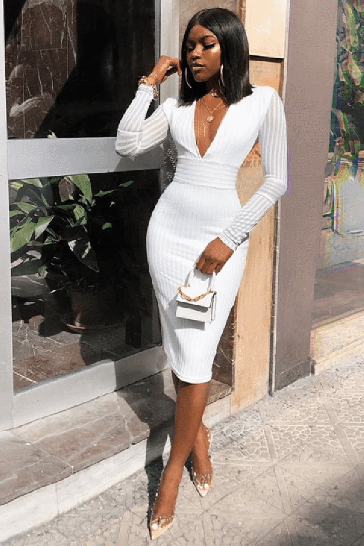 White Deep V Long Sleeve Bandage Dress