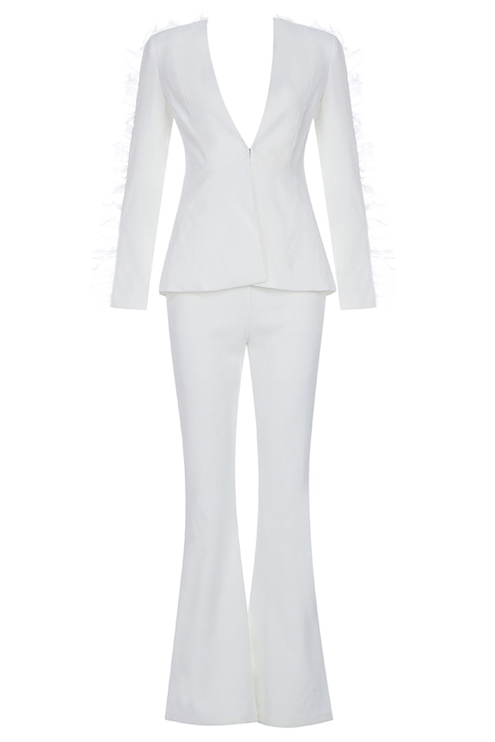 V-Neck Long Sleeve OL Skinny Pant Suits Set - CHICIDA