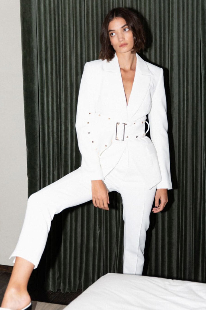 Turn-down Collar Hollow Out Blazer White Black - CHICIDA