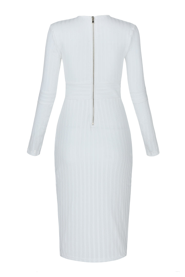 White Deep V Neck Full Sleeve Bandage Dress - CHICIDA