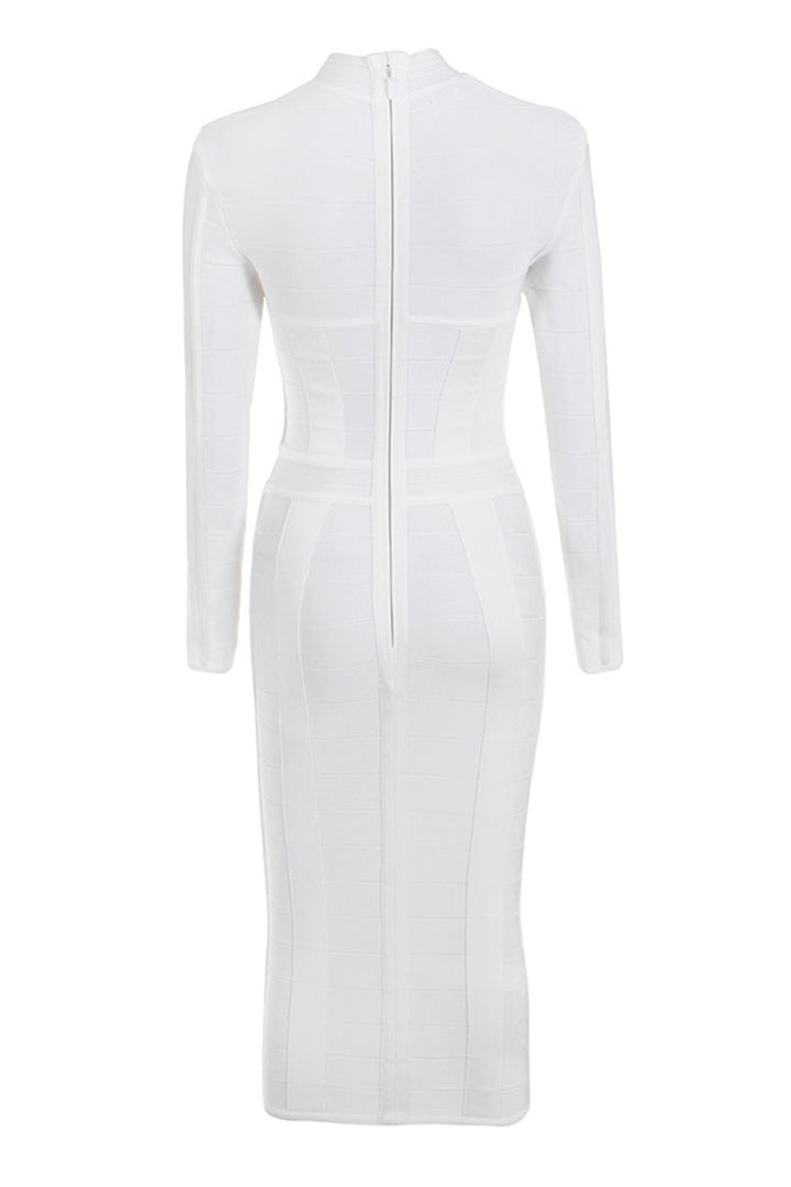 White Hollow Out Long Sleeve Bandage Dress - CHICIDA